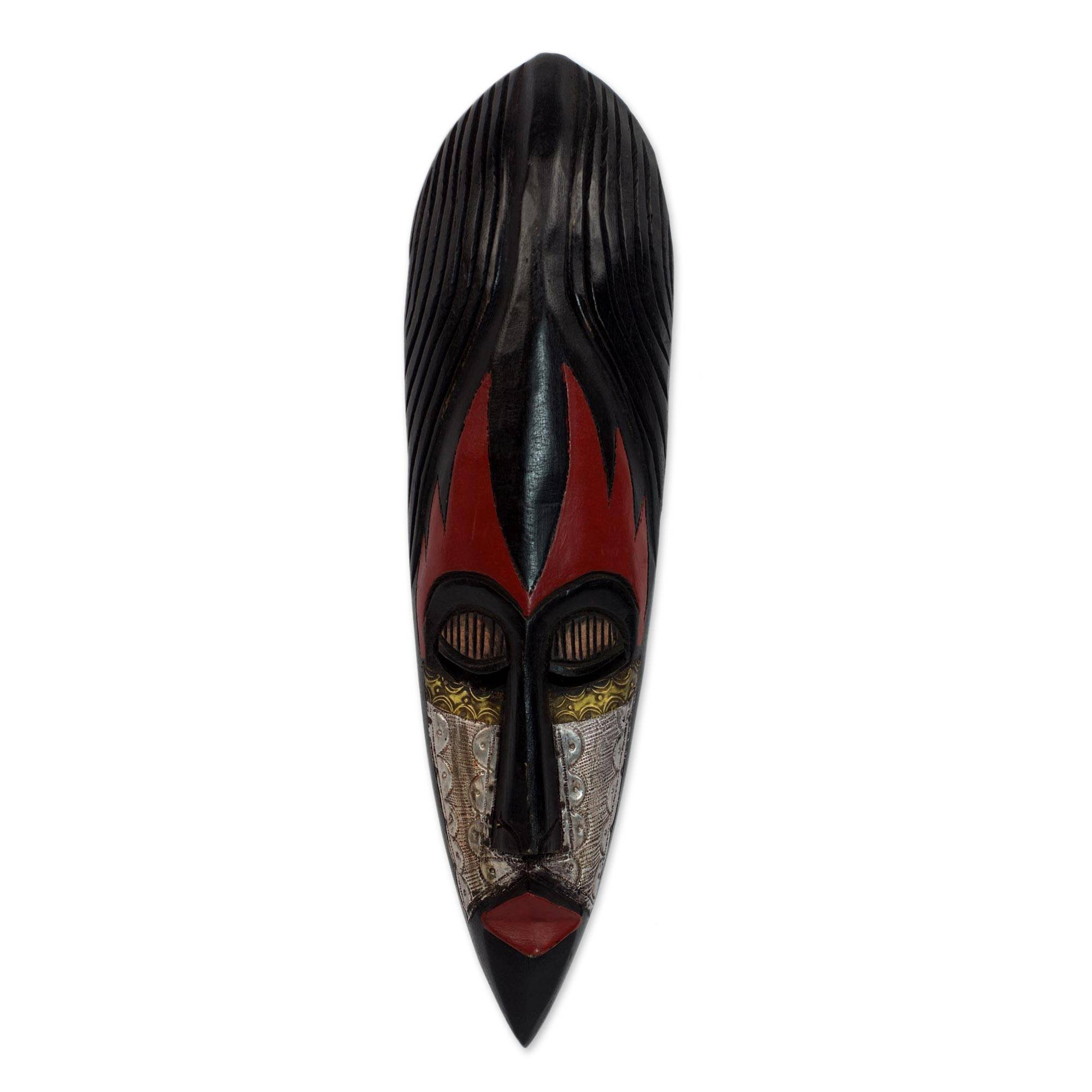 NOVICA Black and Red Hand Carved Nigerian Wood Wall Mask with Aluminum Accents, Fulani Maiden' by NOVICA