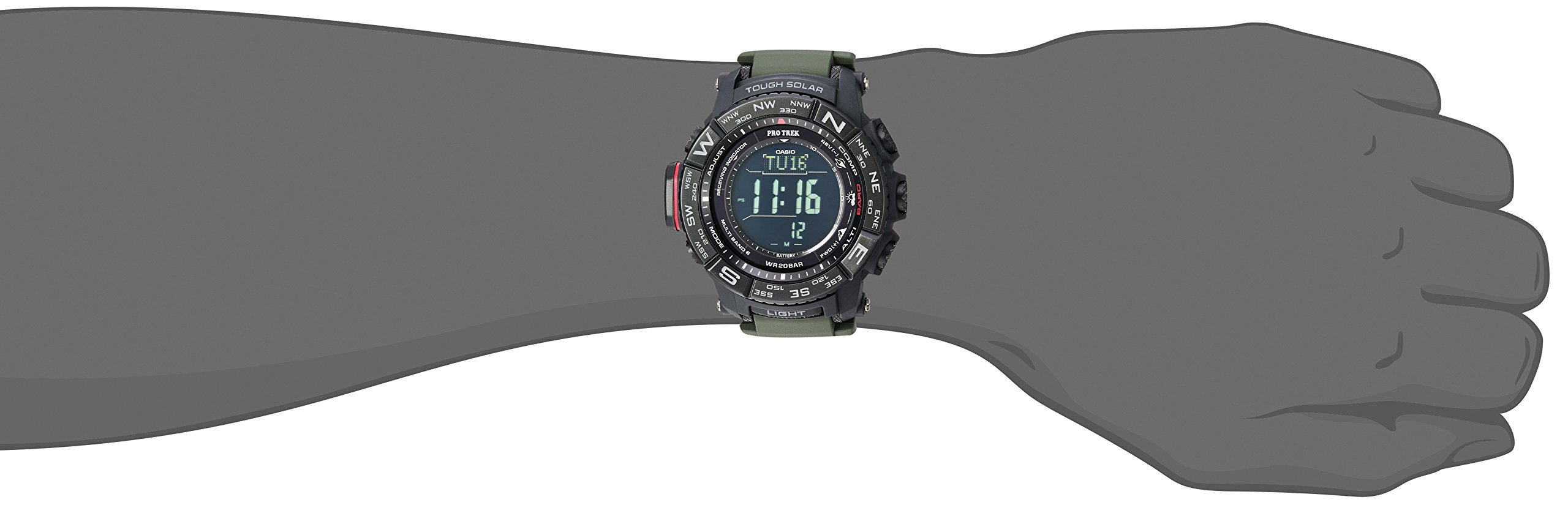 Casio Men's Pro Trek Stainless Steel Quartz Watch with Resin Strap, Black, 20.2 (Model: PRW-3510Y-8CR) by Casio (Image #2)
