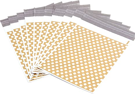 150X230MM 50pcs Bolsas de Envios Bolsas Sacos Sobres Postales para Envios por Correo Bolsas de Plastico Dorado con puntos blancos