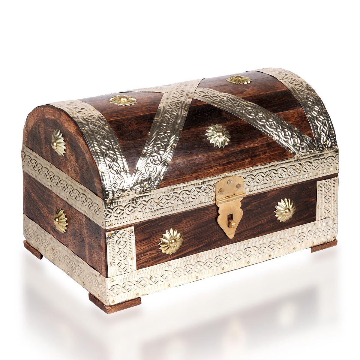 Brynnberg Scrigno del tesoro vintage Bauletto stile antico per accessori gioielli oggetti di valore, Cassaforte in legno, Idea regalo decorativa 24x16x16cm