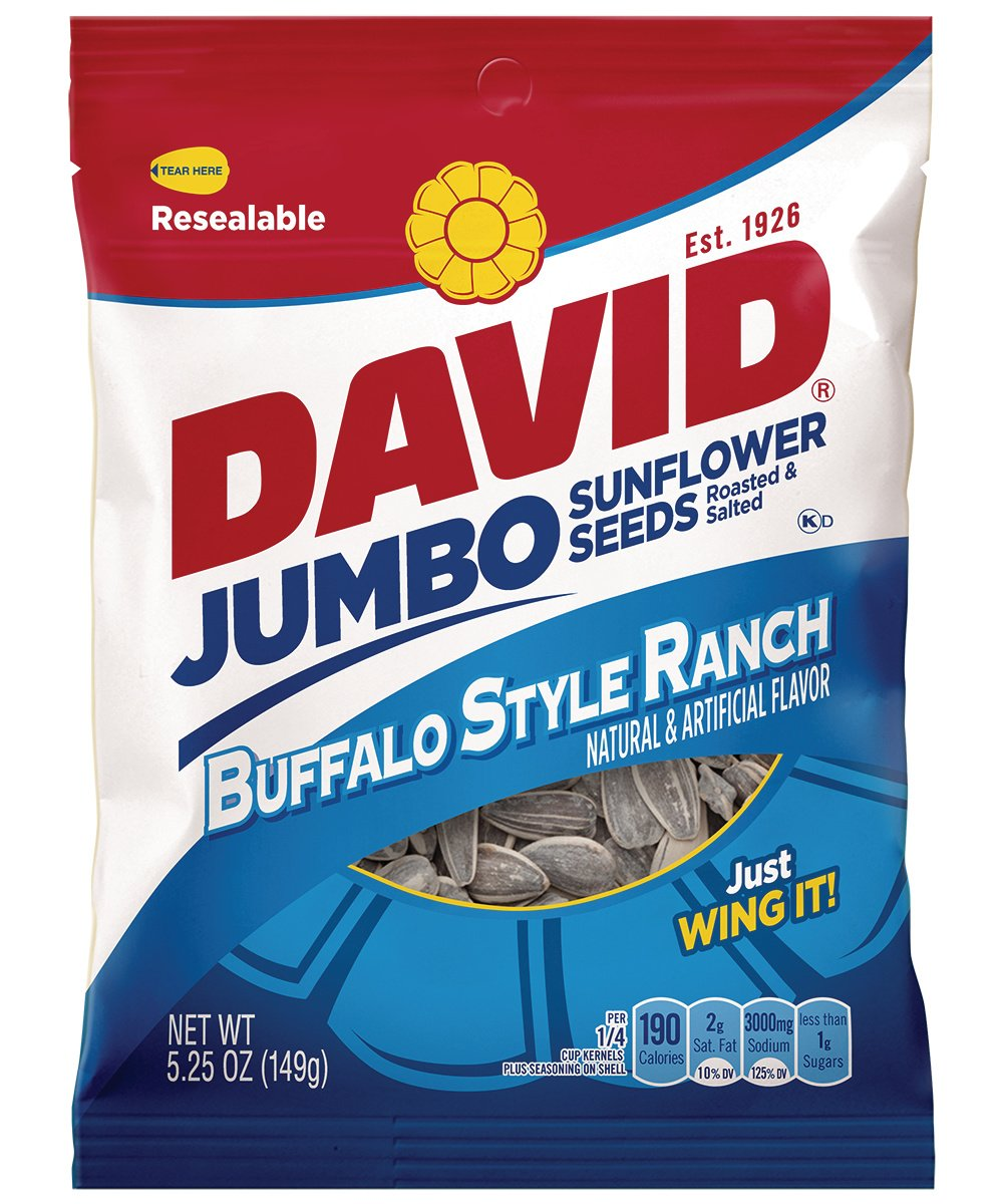 David Jumbo Roasted Salted Sunflower Seeds, Buffalo Ranch Flavor, 5.25oz Bags (Pack of 10) by DAVID Seeds