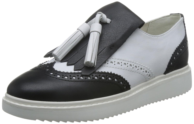 Geox D Thymar C, Zapatos de Cordones Oxford para Mujer 37 EU|Blanco (White/Blackc0404)