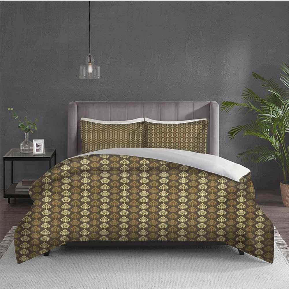 GUUVOR Damask Pure Bedding Hotel Luxury Bed Linen Classical Abstract Curly Figures in Brown Tones Rococo Style Traditional Polyester - Soft and Breathable (Queen) Umber Caramel Yellow