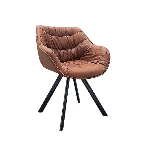 Invicta Interior Retro Stuhl gepolstert The Dutch Comfort antik braun Cognac Metall Esszimmer Sessel Polsterstuhl Bürosessel mit Armlehne