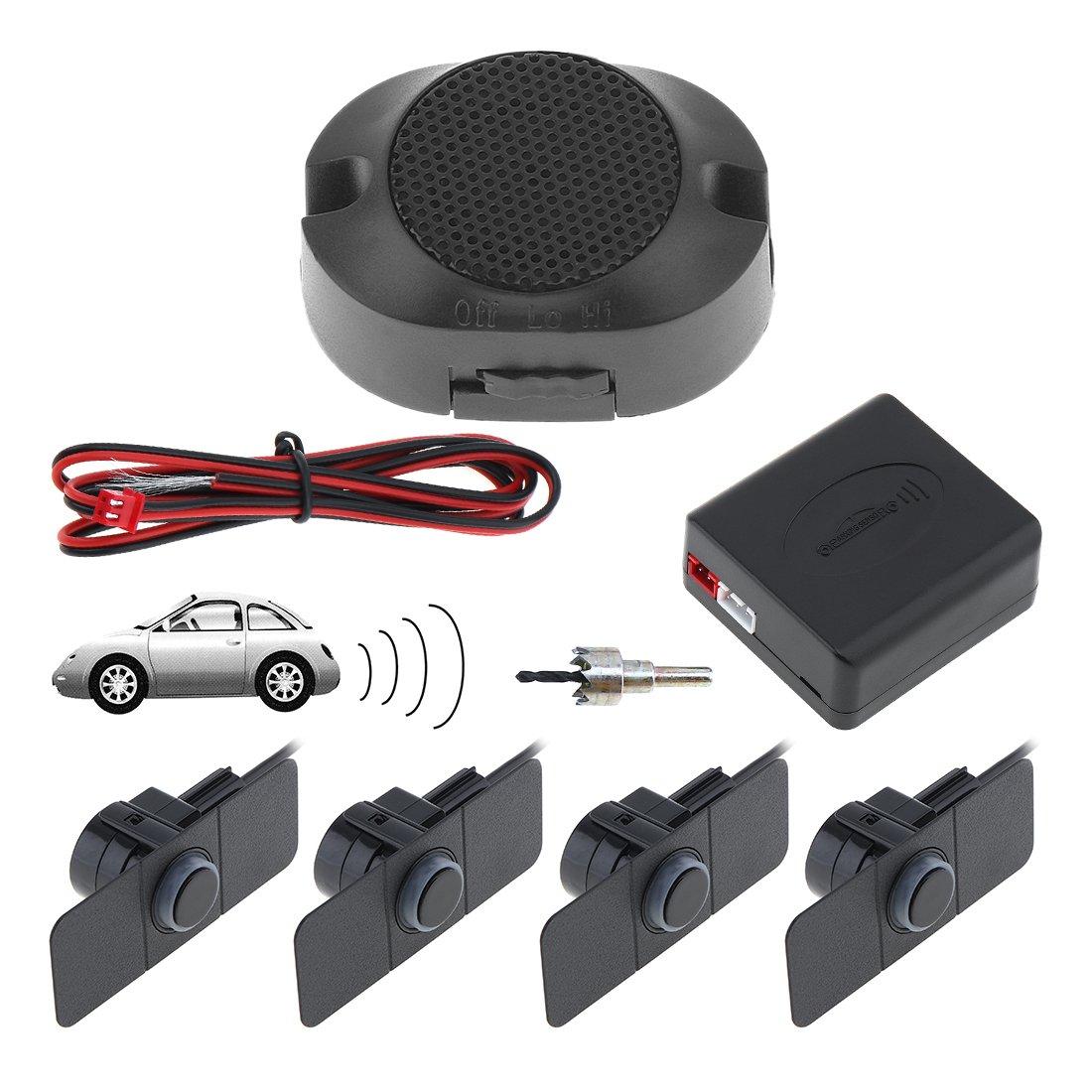 Argento Sistema radar di retromarcia auto inverso Qualit/à Premium 4 Sensori di parcheggio Sistema radar di retromarcia auto inverso con le ali