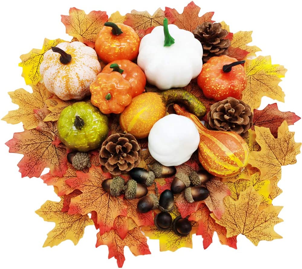 Dshengoo 75 Pieces Fake Pumpkin Decor Mini Artificial Pumpkins and Gourds,Maple Leaves,Pine Cones,Acorns for Craft,Wedding,Festival,Party,Thanks-Giving and Outdoor Decorating