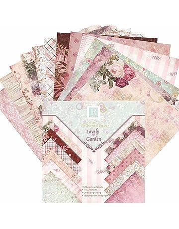 24 Hojas de Paper Pack Scrapbooking Estampado Flores Románticas Vintage para DIY Paper Decorativa Manualidades,