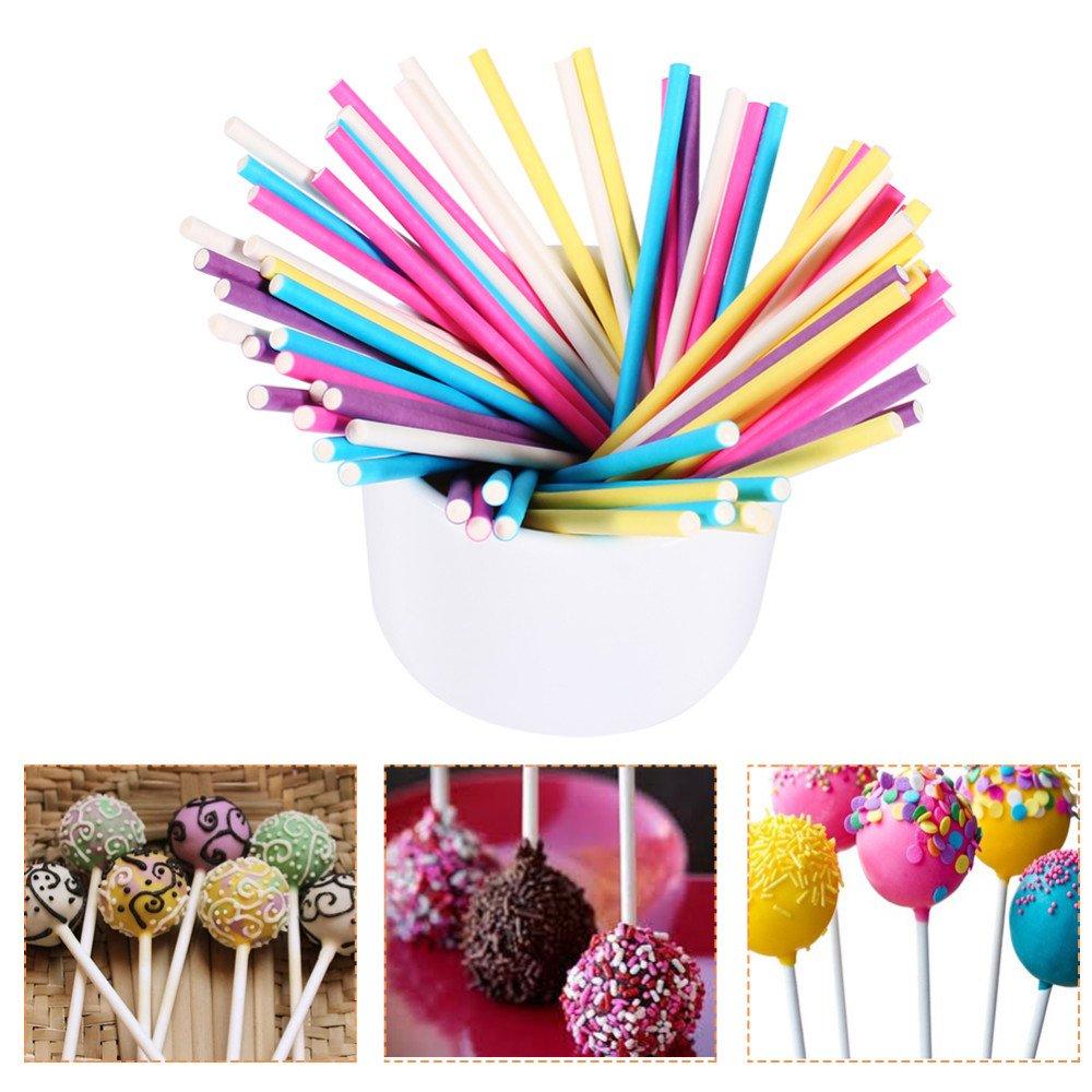 YingYing Molds 500pcs Colorful Lollipop Stick 10CM Papen Cake Pop Sticks for Lollypop Lollipop Candy Chocolate Sugar Cudgel Pole Handle