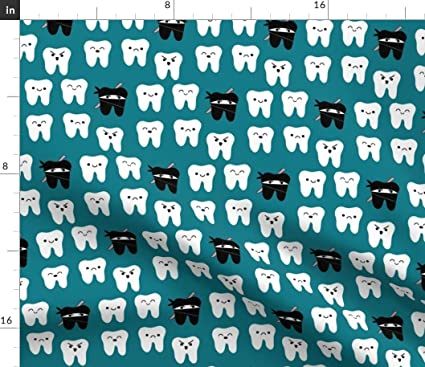 Amazon.com: Tooth Fabric - Way of The Ninja Teal Teeth ...