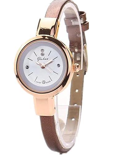 Relojes Mujer,Longra Elegante Reloj de Pulsera Reloj Redondo Cuero Imitación (21CM, Marrón