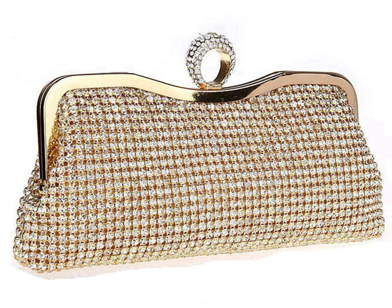 Ring Evening Handbag Rhinestone Clutch Bag for Party Bridal Clutches Dinner Purse-Gold (Gold)