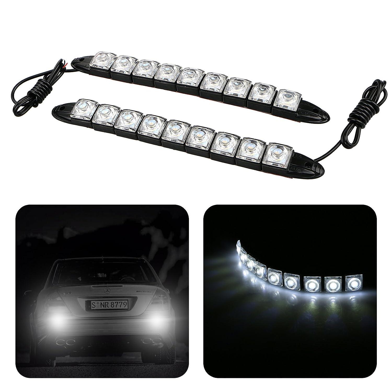 EEEKit 2X Universal Car Vehicles 9 LED DC 12V Daytime Running Light DRL Kit Fog Light Day Driving Daylight Lamp