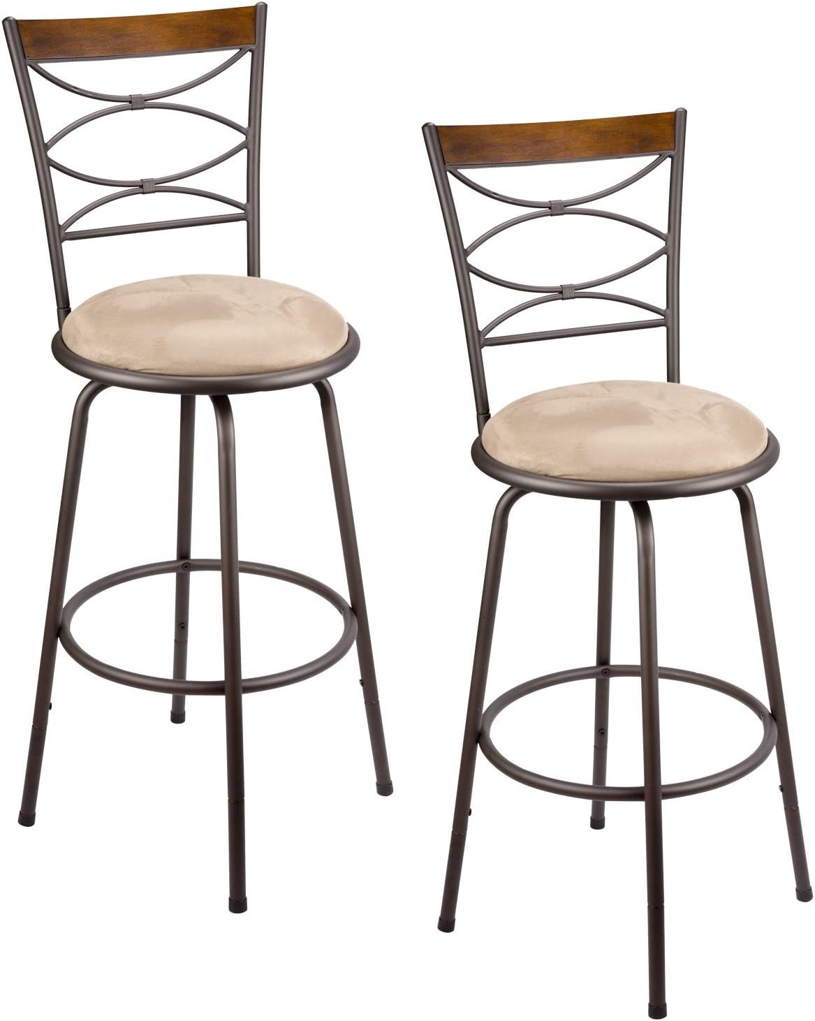 Revel Kira Home Avery 30 Adjustable Swivel Barstool w Real Wood Accent Back, Bronze Metal Finish, Set of 2