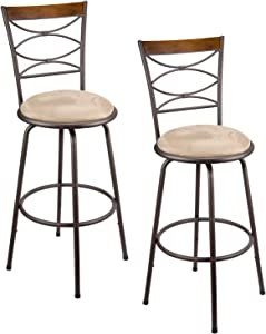 """Kira Home Avery 30"""" Adjustable Height Round Swivel Barstool w/Real Wood Accent Back, Bronze Metal Finish, Set of 2"""