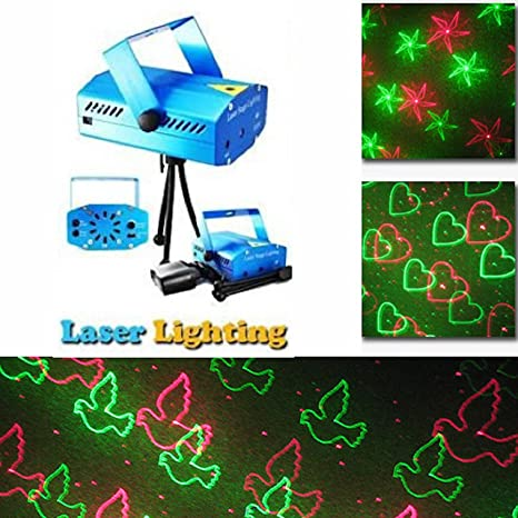 a2z traders multi pattern sound activated laser mini disco light projector stage lighting and 1 hand shape led keychain