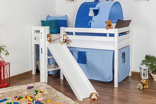 Kinderbett Etagenbett : Kinderbett hochbett samuel buche vollholz massiv mit rutsche weiß