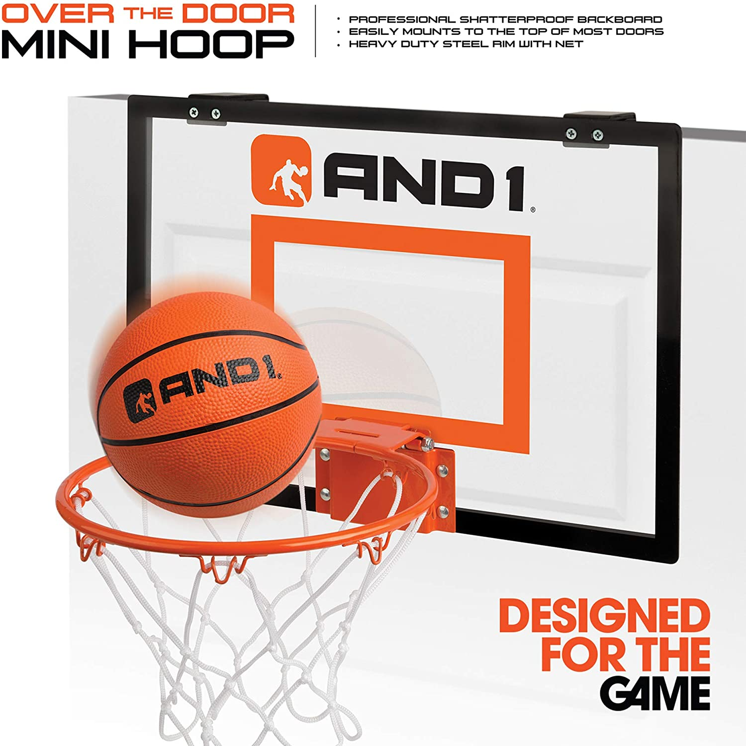 """AND1 Over The Door Mini Hoop: - 18""""x12"""" Easy to Install Portable Basketball Hoop with Steel Rim, Includes 5"""" Mini Basketball, Indoor Game Set for Children and Adults- Clear : Sports & Outdoors"""