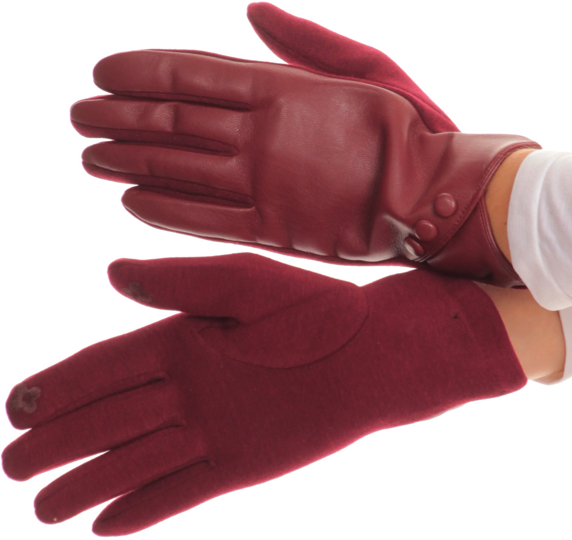 Sakkas 16165 - Pamb Faux Leather Heather Knit Button Front Warm Winter Touch Screen Gloves - Burgundy - S/M
