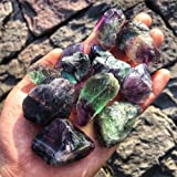 Simurg Raw Fluorite Stone 1lb ''A'' Grade Rainbow Fluorite Rough Crystal - Green Fluorite Rocks for Cabbing, Tumbling…
