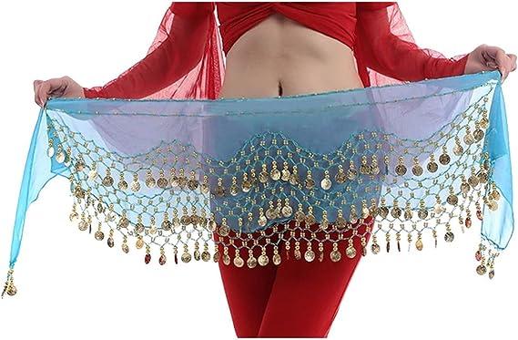 Hee Grand 3 filas danza del vientre baile Hip bufanda falda ...