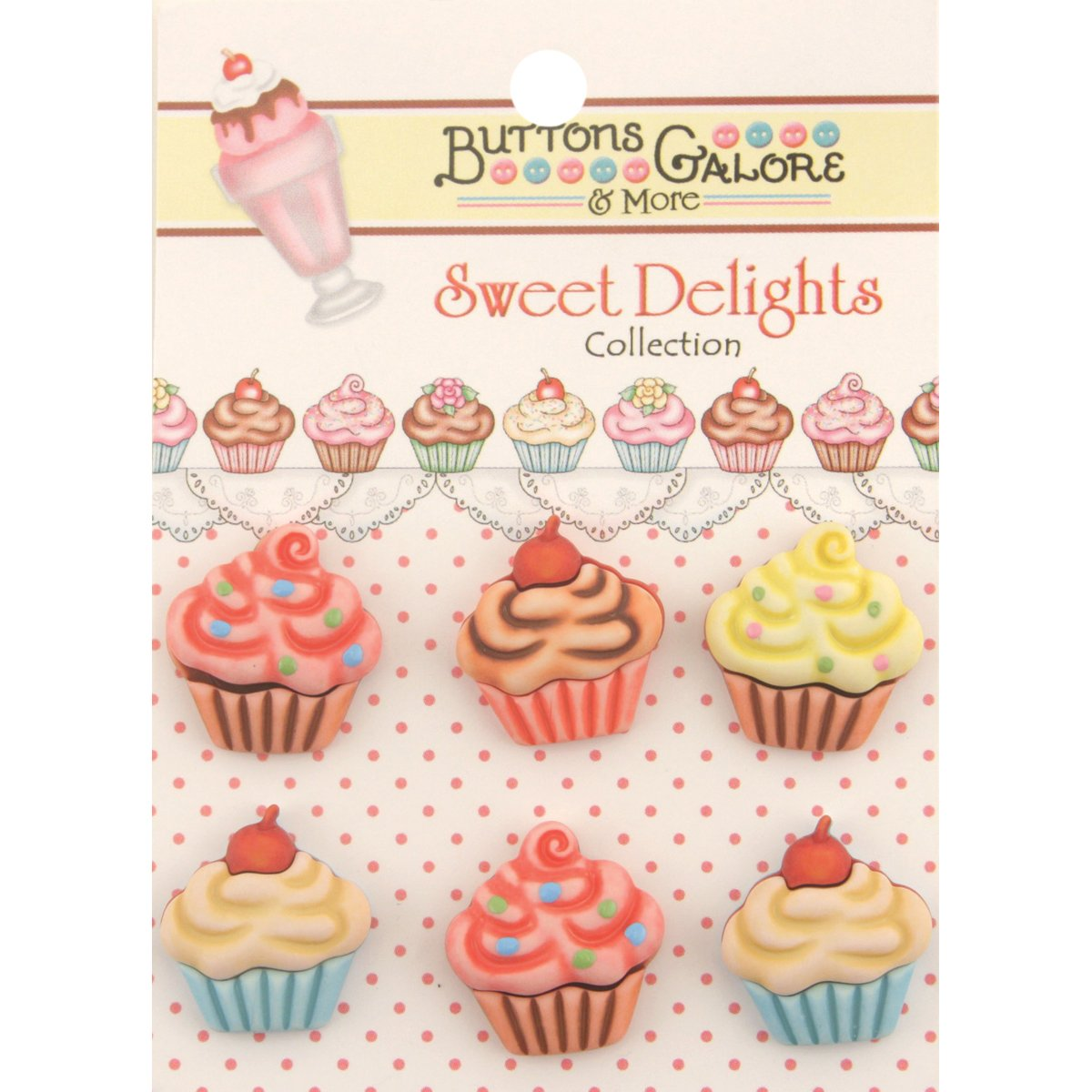 Buttons Galore Sweet Delights Buttons-Cupcakes SD100