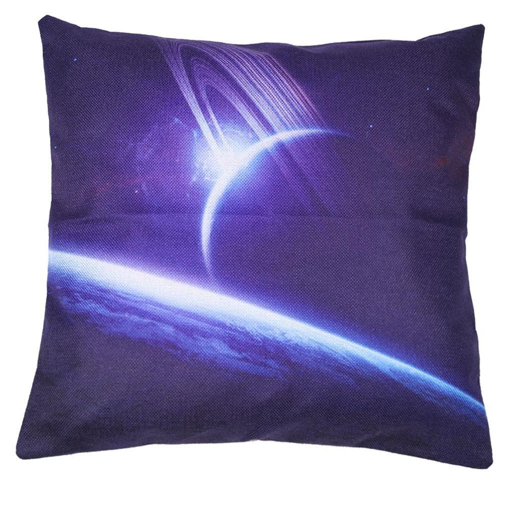 Demiawaking Universe Vast Space Planets Cushion Cover Car Decor Sofa Pillow Case(B)