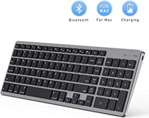 Bluetooth Keyboard for Mac OS, Jelly Comb Ultra Slim Wireless Keyboard for Mac OS/iOS/iPad OS Rechargeable Bluetooth Keyboard MacBook, MacBook Air/Pro iMac, iPhone, iPad Pro-Black and Gray