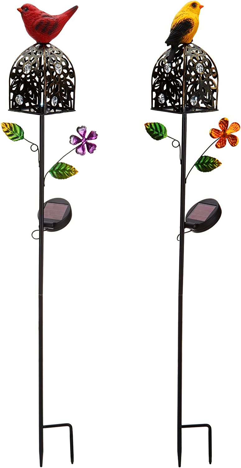 Tom David Lewis Set of 2 - Solar Garden/Patio Lamps, Bright LEDs - Red & Yellow.