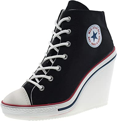 f81bd613bb4 Maxstar Women s 777 Back Zipper Canvas High Wedge Heel Sneakers Black 5.5  B(M)