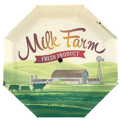 51cea4574983 Amazon.com : Cooper girl Milk Farm And Herd Cows Umbrella Sun Rain ...