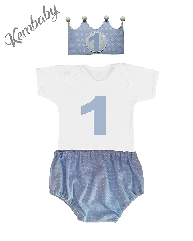 Conjunto primer cumpleañ os 1 añ o niñ o (Body o Camiseta + Corona + Cubrepañ al)