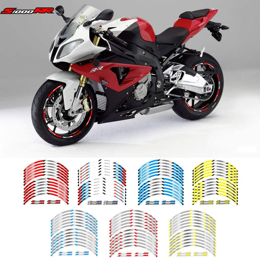 Motorcycle Front and Rear Wheels Edge Outer Rim Sticker Reflective Stripe Wheel Decals for BMW S1000XR