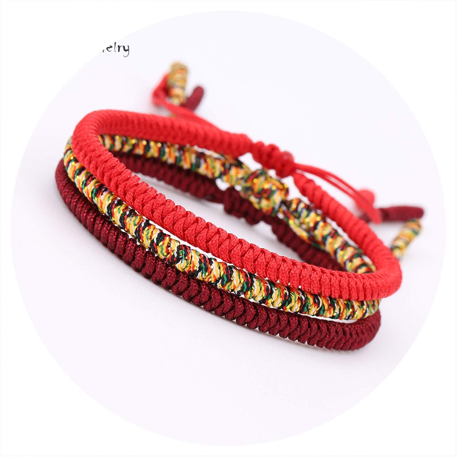 Olive Tayl 3PCS Multi Color Tibetan Buddhist Good Lucky Charm Tibetan Bracelets & Bangles for Women Men Handma by Olive Tayl (Image #2)