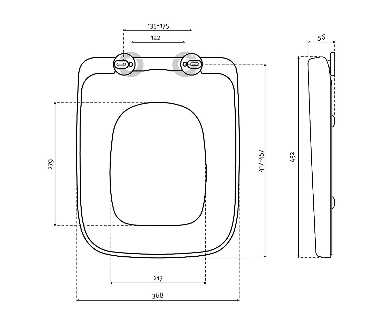 Bullseat 6.1 WC Sitz eckig genaue Größe, Lochabstand und andere wichtige Maße