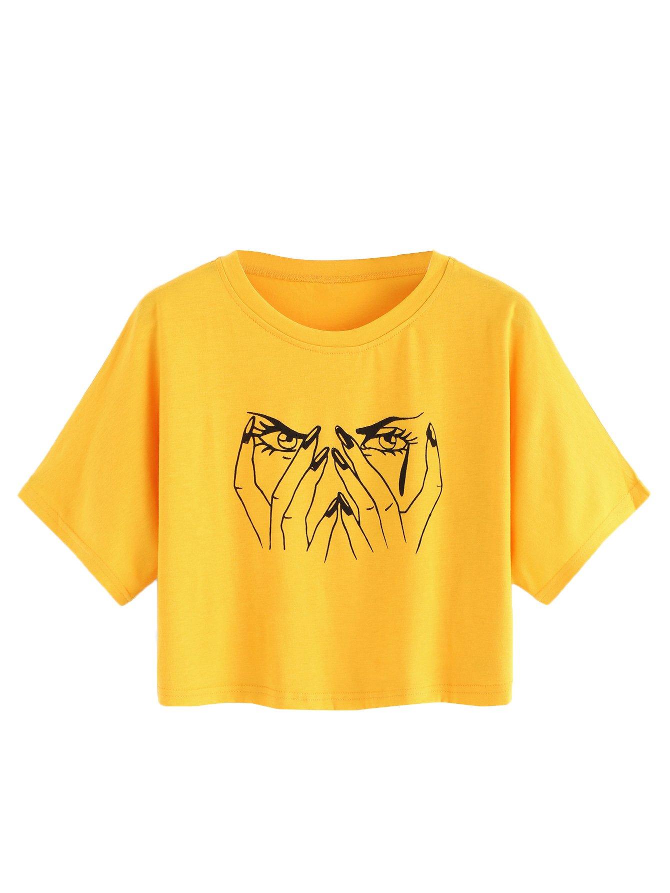 SweatyRocks Women's Loose Summer Short Sleeve Graphic Print Crop Top T-Shirt Yellow L