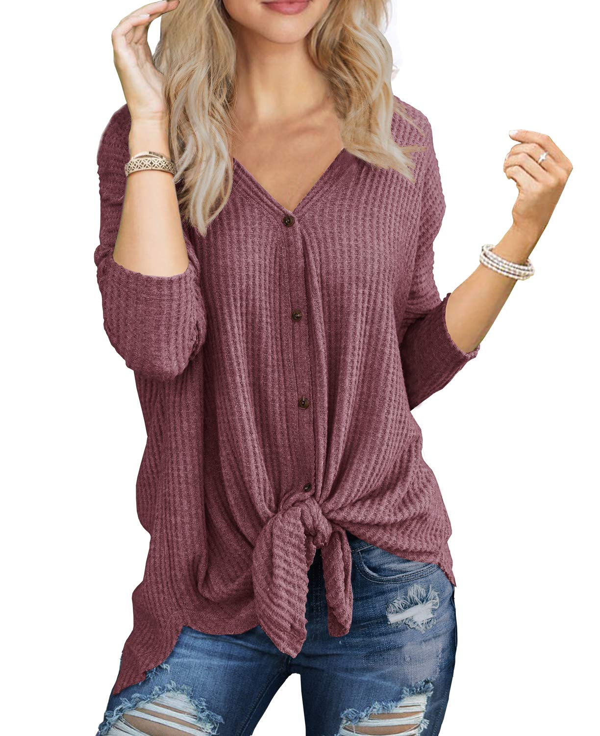 IWOLLENCE Womens Loose Henley Blouse Bat Wing Long Sleeve Button Down T Shirts Tie Front Knot Tops Rust Red M by IWOLLENCE