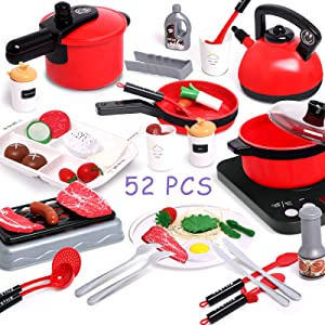 TNELTUEB 52PCS Toy Cooking Set, Play Kitchen Accessories Toy Utensils Cookware Pots and Pans Playset with Play Food, Cutting Vegetables Toddler Play Kitchen Set for Girls Boys Kids