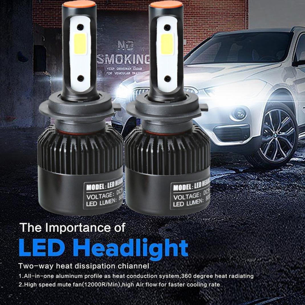 DZT1968 1set/2pc 110W H7 COB CREE LED 3500CD IP65 20000LM Auto Car Headlights Kit Driving Bulbs Lamps 6000K