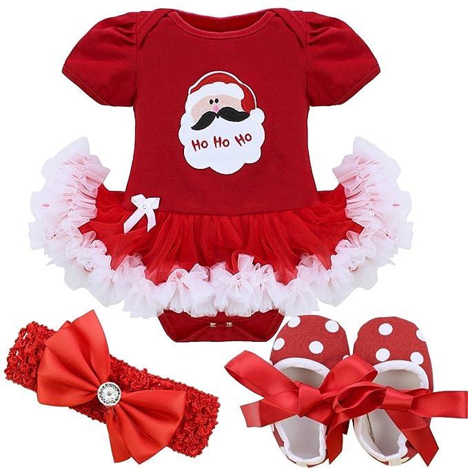 Freebily Vestido de Navidad Fiesta Princesa para Bebé Niña Disfraz Conjunto de Navidad Bautizo Ceremonia para Recién Nacido Papá Noel 6-9 Meses: Amazon.es: ...