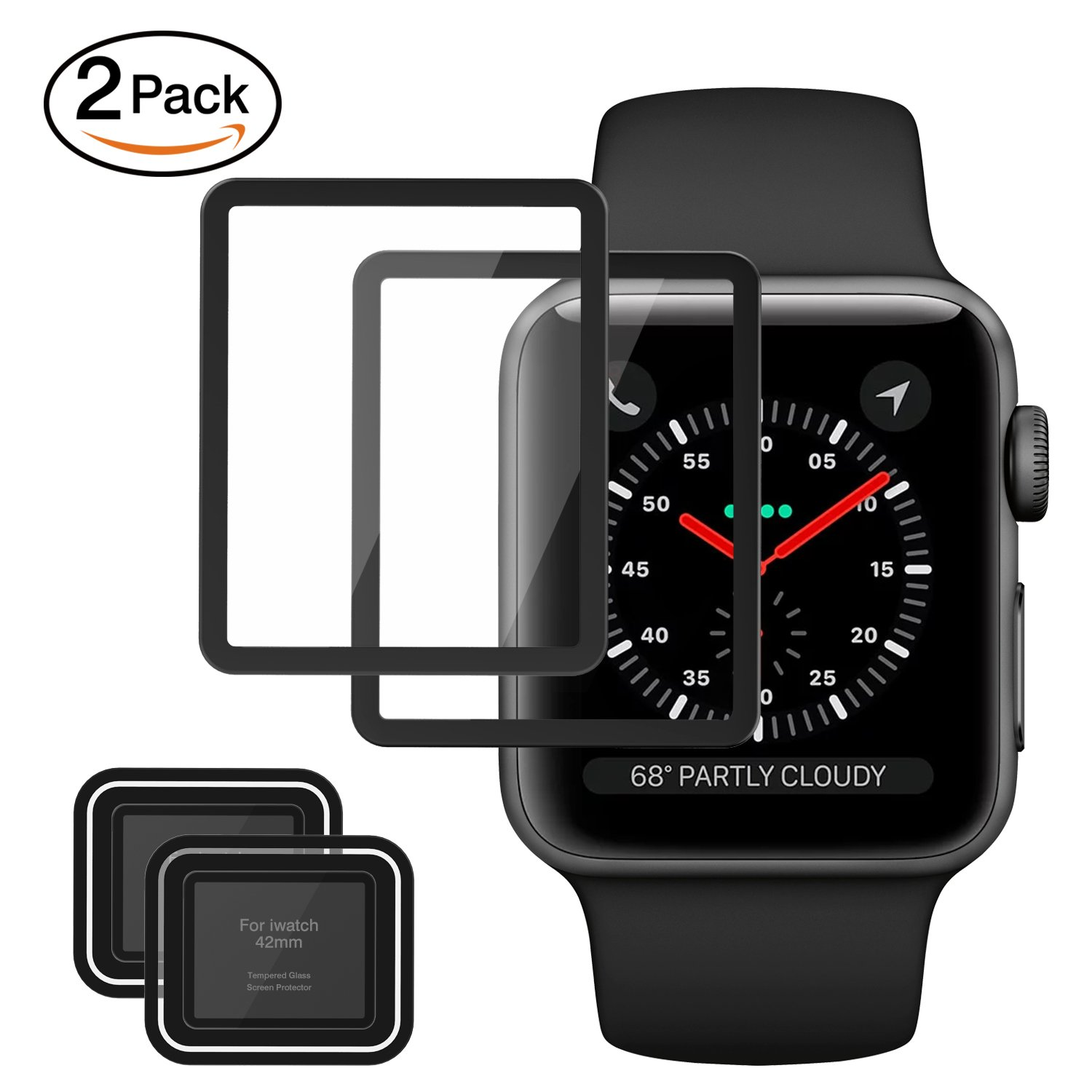MoKo Tempered Glass Screen Protector for Apple Watch 42mm, [2-PACK] Premium HD Clear Shield Cover Anti-Scratch Film for iWatch 42mm Series 1 / 2 / 3 2017, Black (Not Fit Apple Watch 38mm)