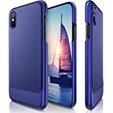 iPhone X Case, LOHASIC Premium Leather Luxury Ultra Slim &Thin Hard PC Cover Textured Back Non-Slip Case with Excellent Shockproof Protection Case for Apple iPhone X 10 - Blue