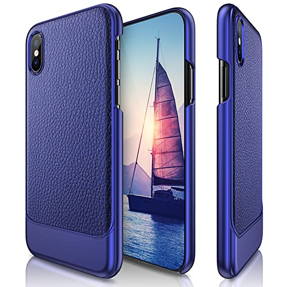 buy popular 0eb46 22816 LOHASIC Only for iPhone X Case (2017), Premium Leather Luxury Slim Thin  Hard PC Cover Textured Back Non-Slip with Excellent Shockproof Protection  Case ...