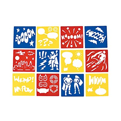 "Fun Express Superhero Stencils (12 Pack) Plastic. 5"" x 5"". Super Hero: Health & Personal Care"