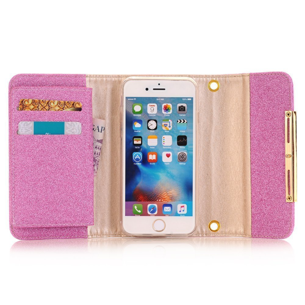 Jennyfly iPhone XS Wallet Cover,2 in 1 Removable Women Bling Wallet Case Card Slots Protective Magnetic Cover with Shoulder Strap for iPhone 5.8 inch XS - Pink