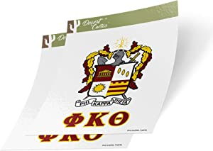 Phi Kappa Theta Letter 2-Pack Decal Greek for Window Laptop Computer Car phi kap (Crest Sticker)
