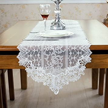 Bsnowf Chemin De Table Dentelle Table Runner Tissu Table A Manger
