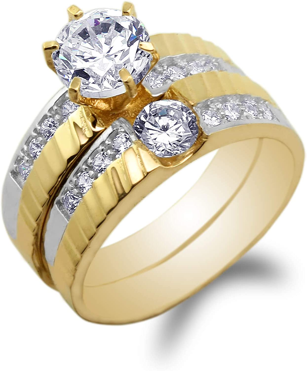 JamesJenny Ladies 10K Yellow Gold Round CZ Unique Fancy Band Ring Size 4-10