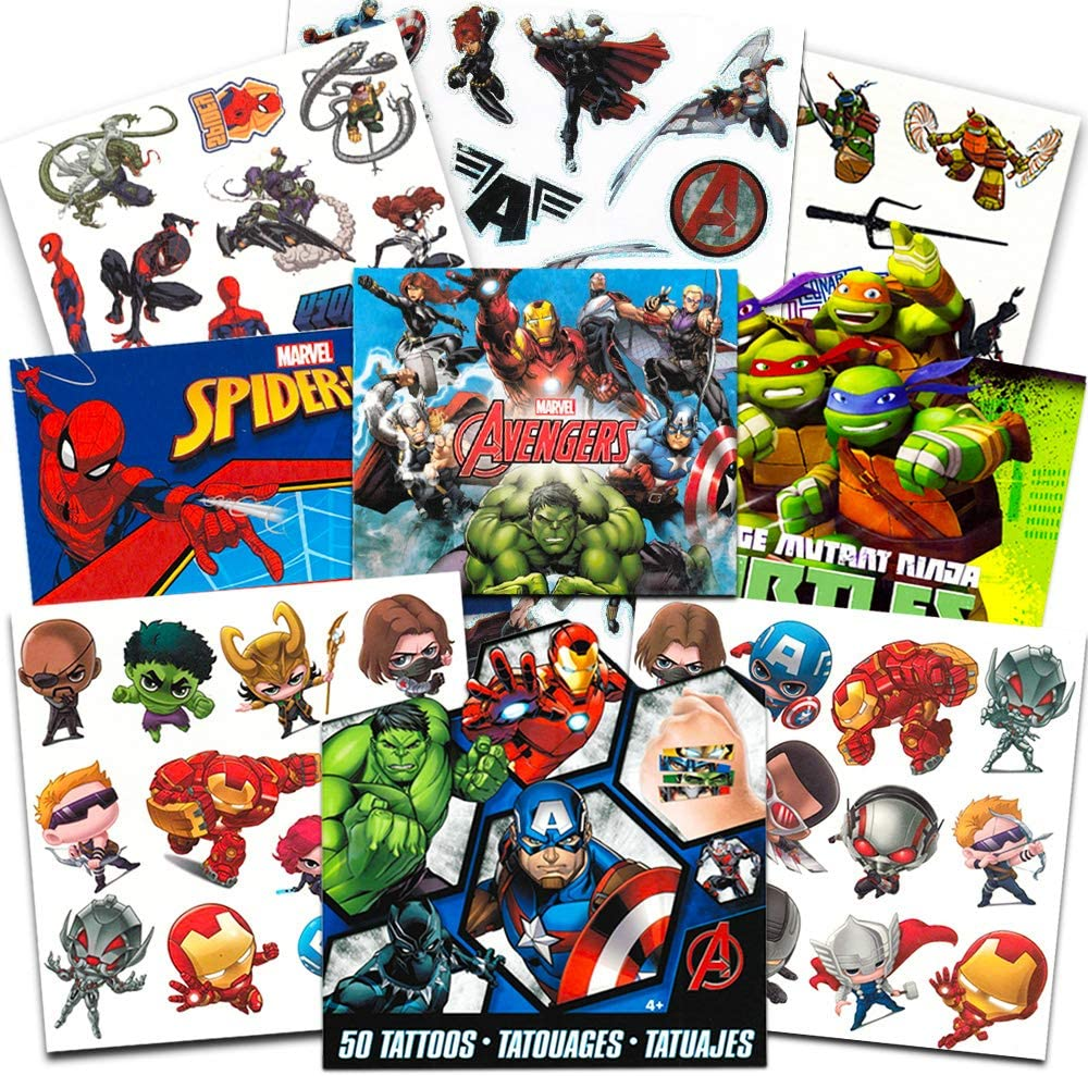 Super Hero Party Supplies Set -- 150 Temporary Tattoos Featuring Marvel Avengers, Spiderman and Teenage Mutant Ninja Turtles with Bonus Avengers ...