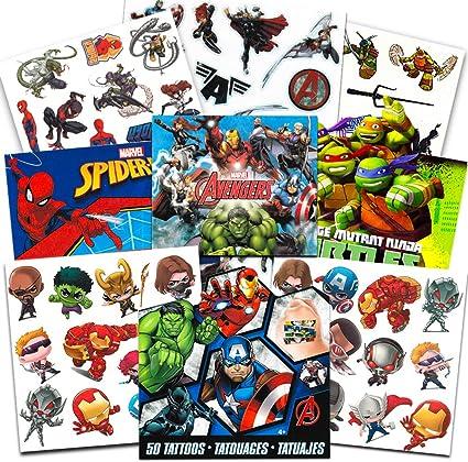 Super Hero Party Supplies Set -- 150 Temporary Tattoos Featuring Marvel Avengers, Spiderman and Teenage Mutant Ninja Turtles with Bonus Avengers ...