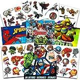Super Hero Party Supplies Set -- 150 Temporary Tattoos Featuring Marvel Avengers, Spiderman and Teenage Mutant Ninja Turtles with Bonus Avengers Stickers